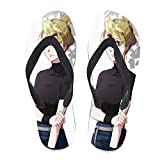 7REND Custom Flip Flops Riza Hawkeye Pretty Girl Anime Fullmetal Aalchemist Thong Sandals Beach Slippers for Women Men Daily Indoor Outdoor Activities Black