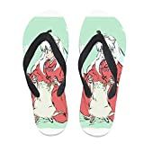 7REND Custom Flip Flops Inuyasha Kirara Demon-Cat Japanese Anime Thong Sandals Beach Slippers for Women Men Daily Indoor Outdoor Activities Black